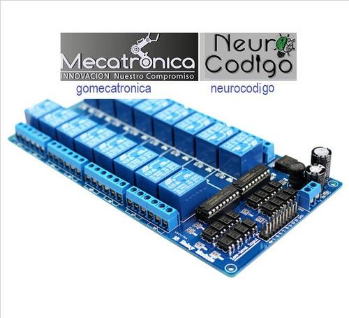 modulo de 16 canales a 12v de relay con protección lm2576 pi