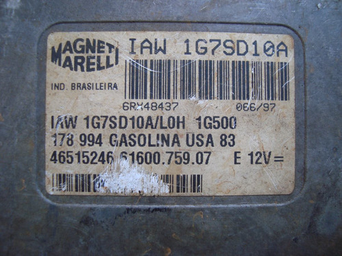 modulo de injeção  palio 1.0 8 v gas iaw 1g7sd.10a/loh1g501