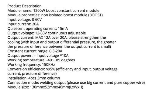 modulo elevador de tensão 1200w  fonte ajustavel  step up