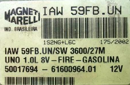 modulo injeçao uno 1.0 8v  iaw59fb un produto usado