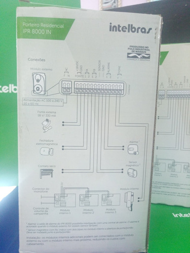 módulo interno porteiro ipr 8000 in intelbras extensão áudio