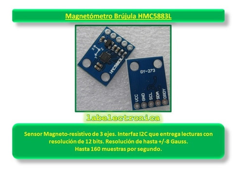 módulo magnetómetro brújula de 3 ejes hmc5883l interfaz spi