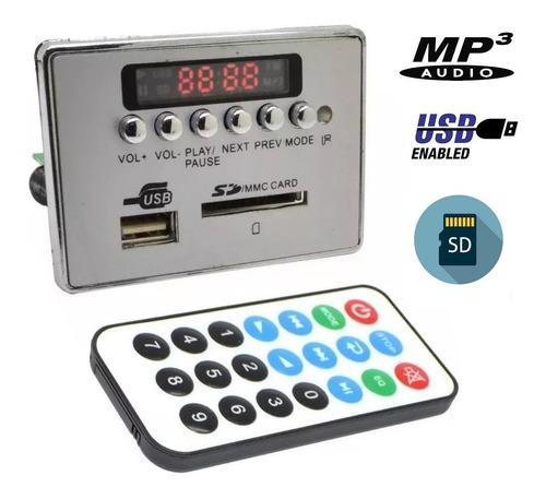 modulo mp3 usb sd fm aux control remoto ecualizador 5 / 12v