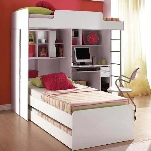 Modulo office teen beliche c cama auxiliar juvenil for Fabrica de camas infantiles