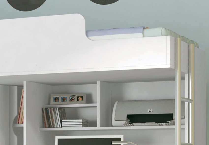 Modulo office teen beliche cama auxiliar solteiro for Cama vista superior