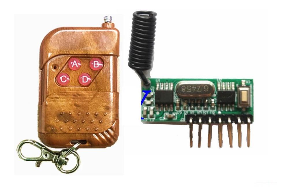 Modulo Receptor Y Control Remoto Rf 433mhz 4 Canales 7 Modos