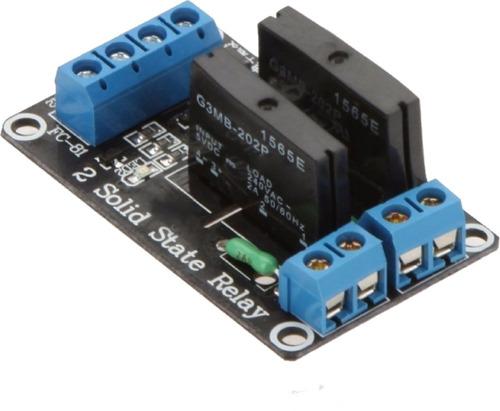 modulo relay rele 5v 2 canales estado sólido ssr 250v fuse