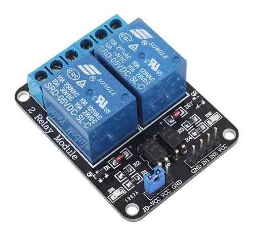 modulo rele 2 canales 5v arduino bornera contactos 250v 10a