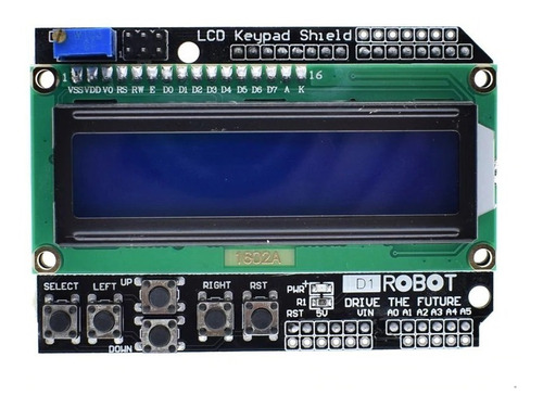 módulo shield display lcd 1602 16x02 keypad - arduino pic