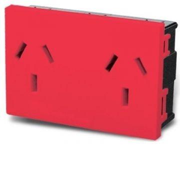 modulo toma doble cambre 220v electrico rojo 7694