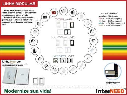 módulo usb ultralar luxo interneed ( interruptores e tomada
