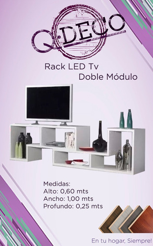 modulos en l rack tv led melamina