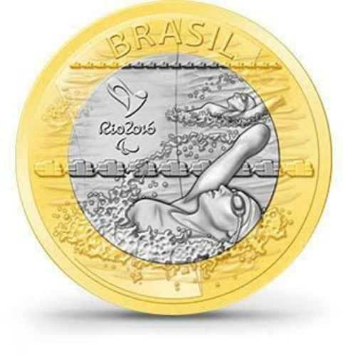 moeda 1 real bi-metal paraolimpica nado