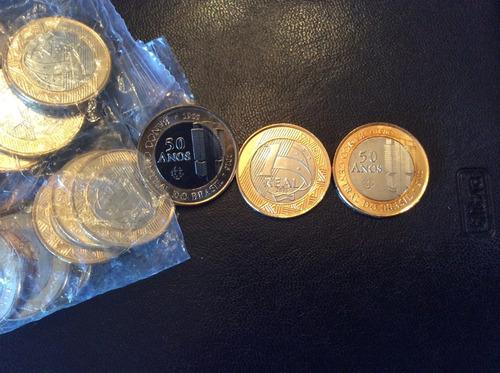 moeda 1 real comemorativa aos 50 anos do banco central - fc