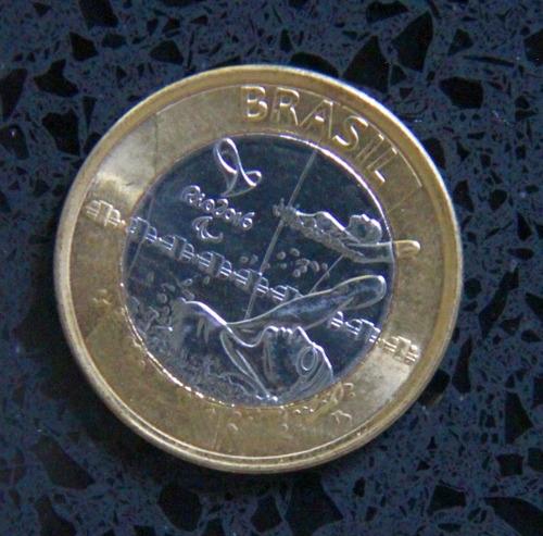 moeda 1 real comemorativa paralimpíadas rio 2016 - natação