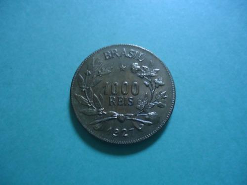 moeda 1000 réis de 1927 bronze alumínio rara no estado fc