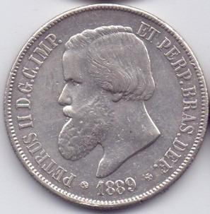 moeda 2000 réis 1889 prata do império lote10