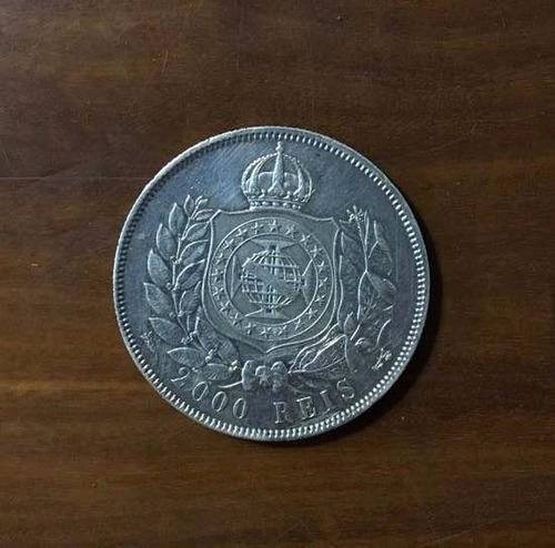 moeda 2.000 réis ano 1869 - brasil império - prata