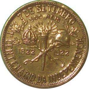 moeda 500 reis - 1o centenário da independência 1822-1922 s