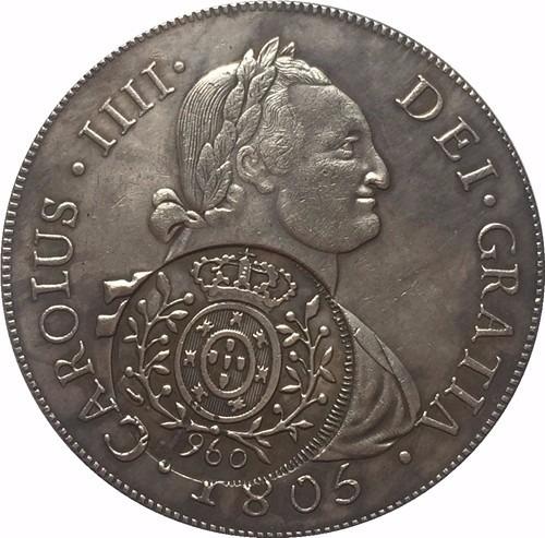 moeda 960 réis com carimbo 40mm muito rara cópia coleção