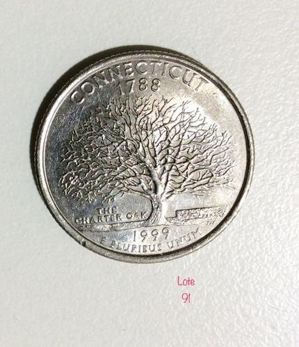 moeda americana quarter dollar  connecticut-1991-
