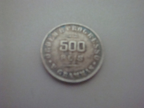 moeda antiga brasileira - prata - 1907 - 500 réis
