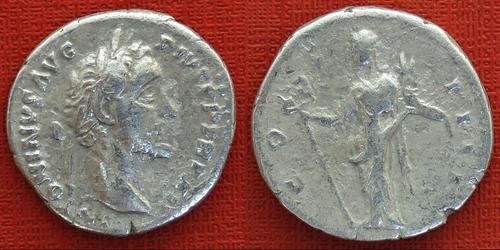 moeda antiga império romano denario de prata  antoninus pius