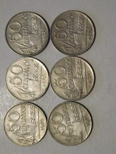 moeda antiga lote c/6 moedas de 50 centavos ano a baixo