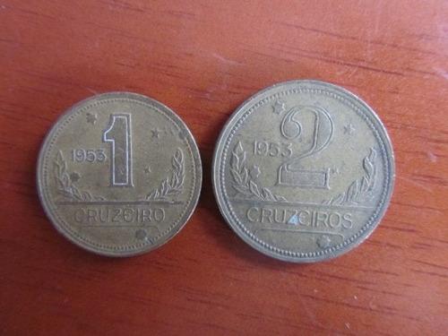 moeda - brasil - 1 e 2 cruzeiros série ilústres - 1953 -mbc+