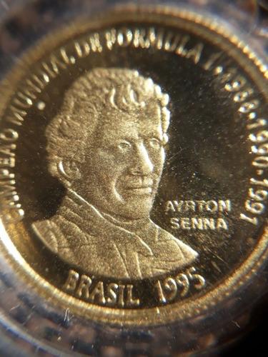 moeda comemorativa de ouro ayrton senna 12xs/juros