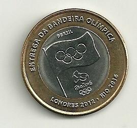moeda comemorativa do brasil, bandeira olímpica