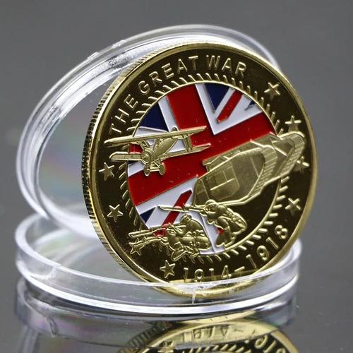 moeda comemorativa primeira guerra mundial banhada a ouro