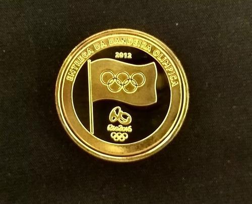 moeda da entrega da bandeira olimpíadas rio 2016 + cápsula