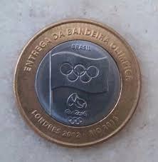 moeda de 1 real olimpíadas  - entrega da bandeira-mbc