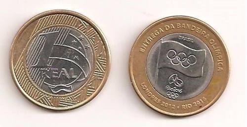 moeda de 1 real olimpiadas rio 2016 - bandeira mbc