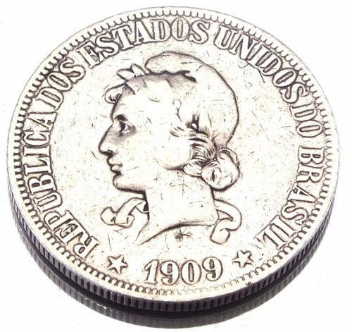 moeda de 1000 reis 1909 em prata 900 brasil republica m1007