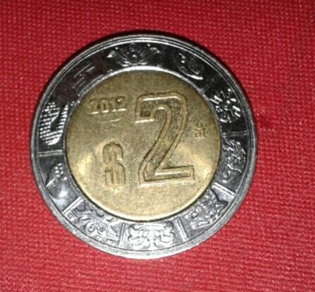moeda de 2 pesos mexicanos 2012.