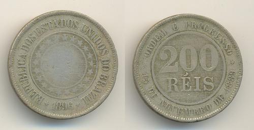 moeda de cupro-niquel 200r.1896circulada.