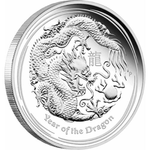 moeda de prata pura .999 --  ano do dragão 2012  -- ½ ozt