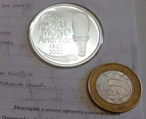 moeda de prata pura- fc - 2002 carlos drummond - 28g