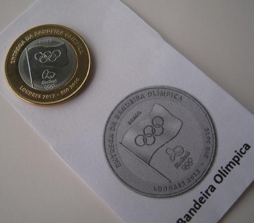 moeda entrega bandeira  olímpica flor de cunho (134)