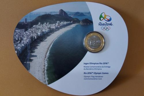 moeda entrega da bandeira no blister olimpíadas rio 2016