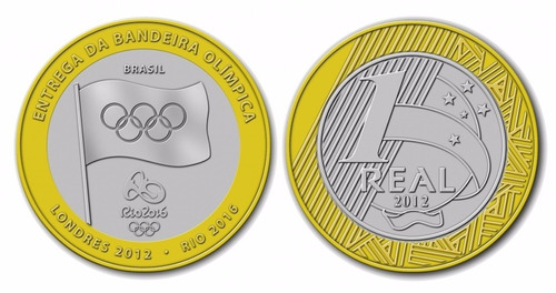 moeda entrega da bandeira olímpica rio 2016 - flor de cunho