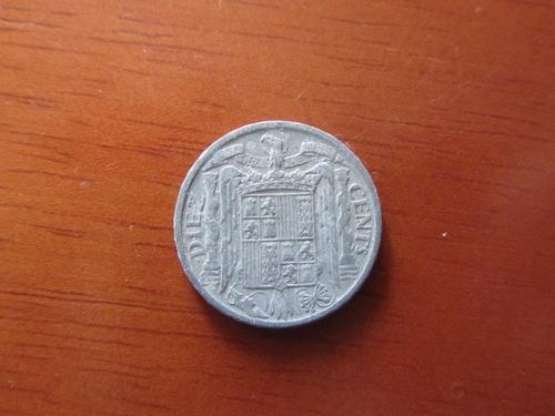 moeda - espanha - 10 centavos - 1941 - alumínio (ii gm) - bc