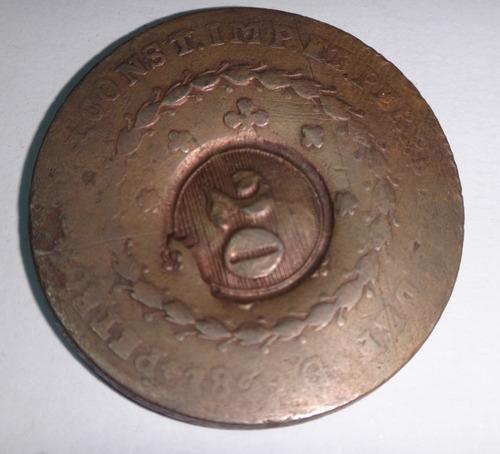 moeda império de cobre com carimbo de 20 réis - 1829 g