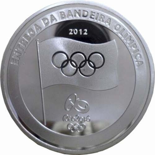 moeda medalha entrega bandeira olimpica rio 2016 revestida