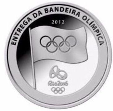 moeda medalha olímpica bandeira