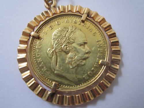 moeda pingente ouro 18k da áustria 4,6gr