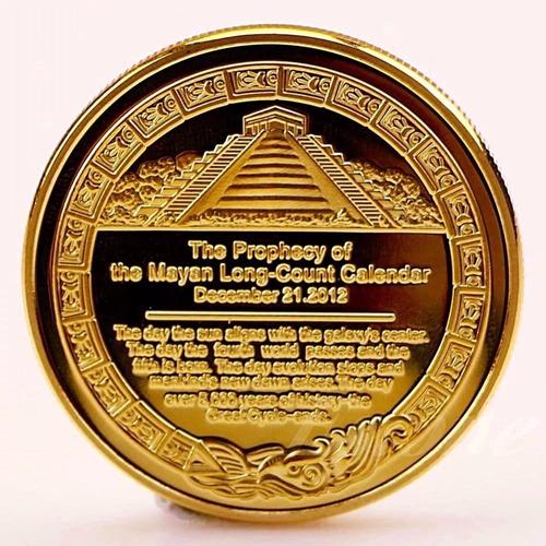 moeda profecia maia asteca banhada ouro 24k
