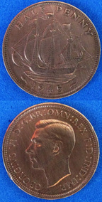 Moeda Reino Unido Half Penny 1945 Segunda Guerra Mundial